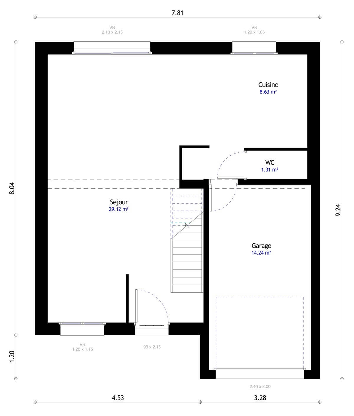 Plan De Maison 4 Chambres Modele Dh 99 Design Habitat