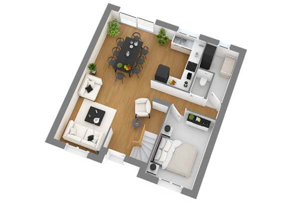 Plan maison 5 chambres DH 100