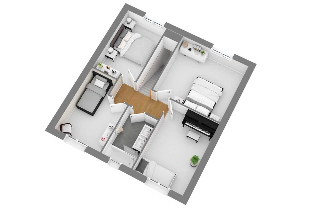 Plan De Maison 5 Chambres Modele Dh 100 Design Habitat