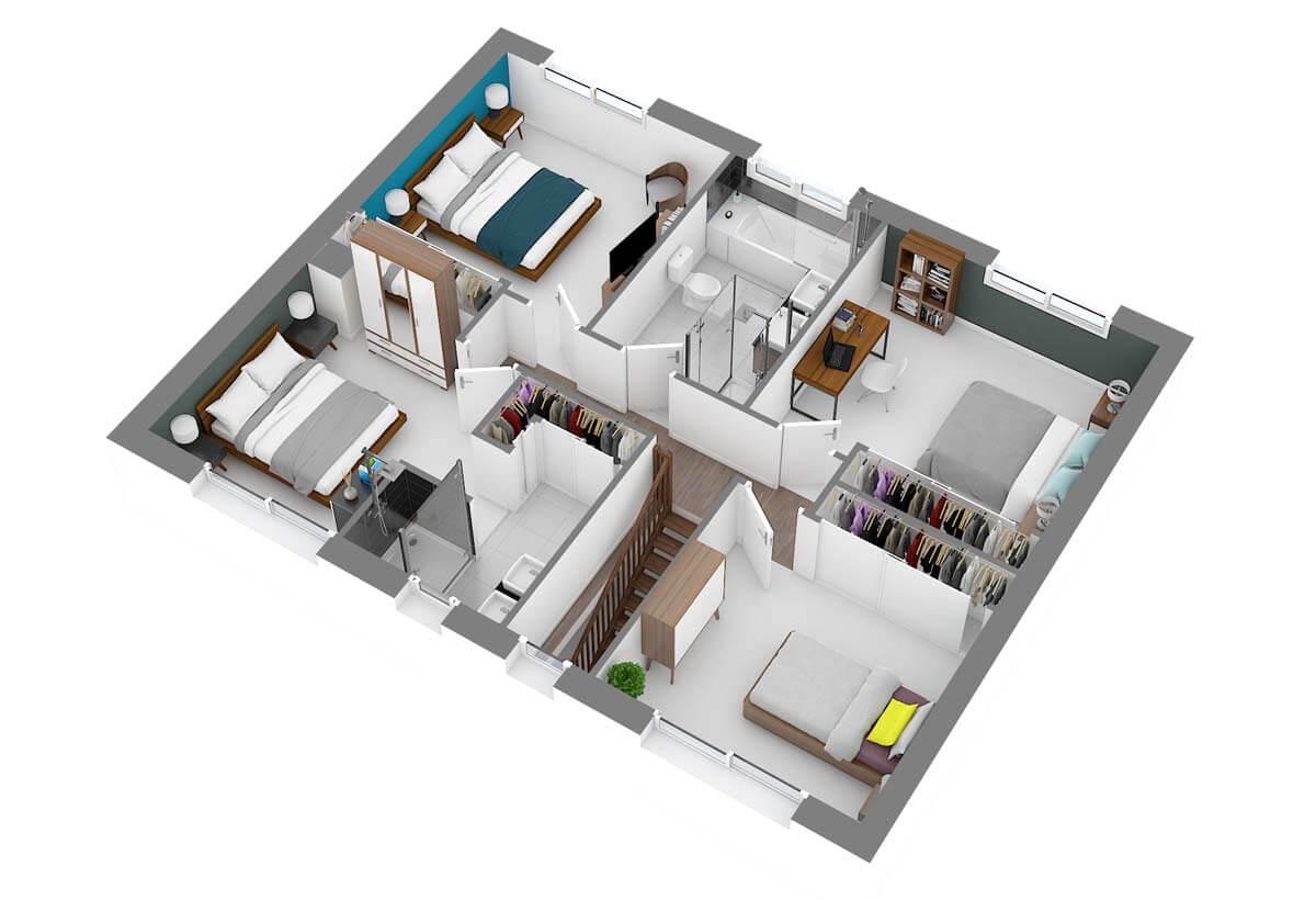 Plan De Maison 4 Chambres Modele Dh 111 Design Habitat