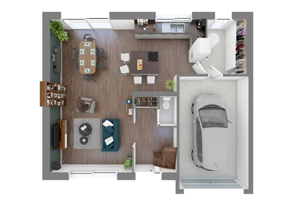 Plan maison 4 chambres DH 111