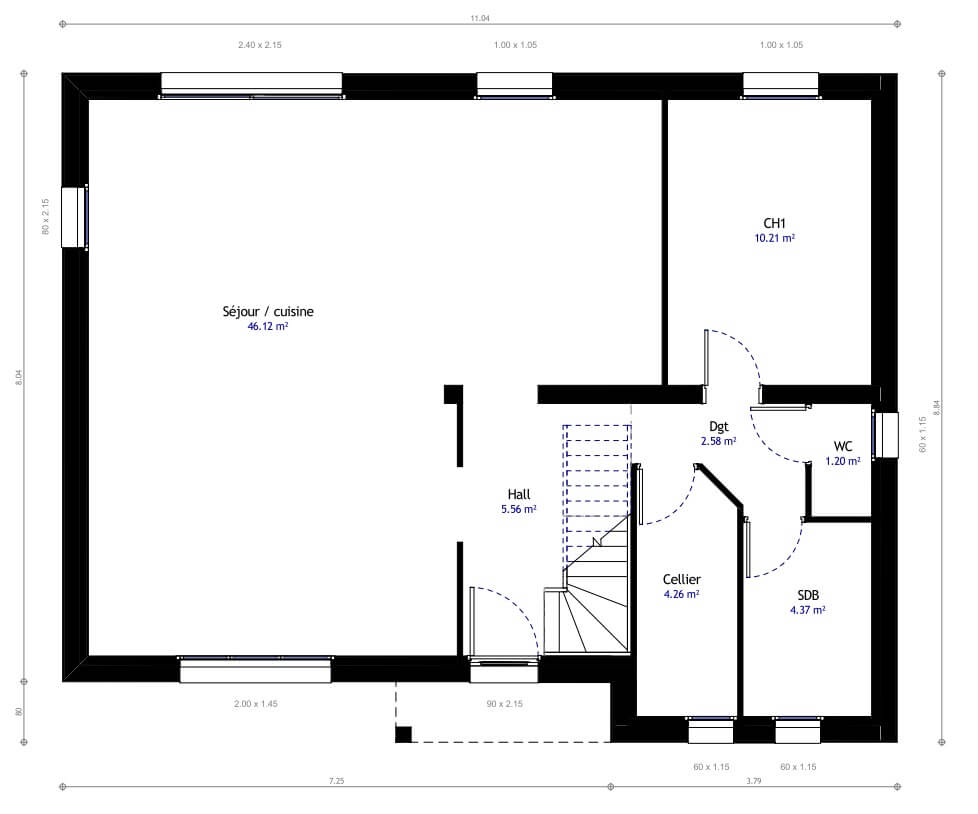 Plan maison individuelle 4 chambres 04 habitat concept for Sites web de plan de maison