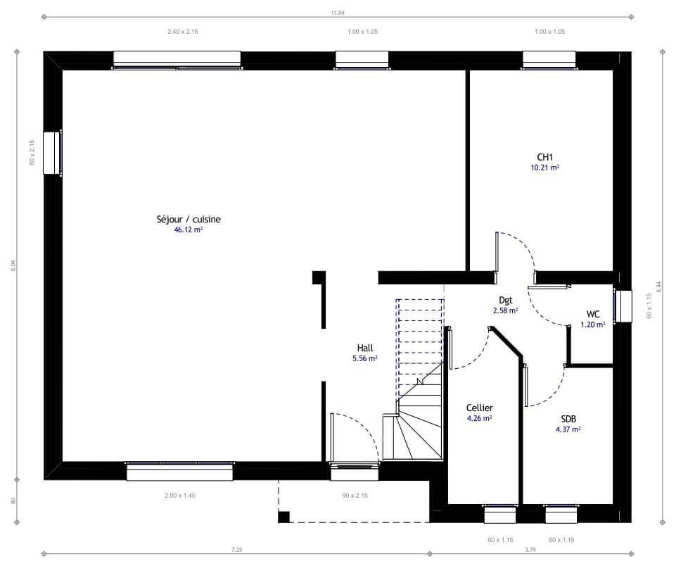 Plan 1de la maison individuelle Habitat Concept 04