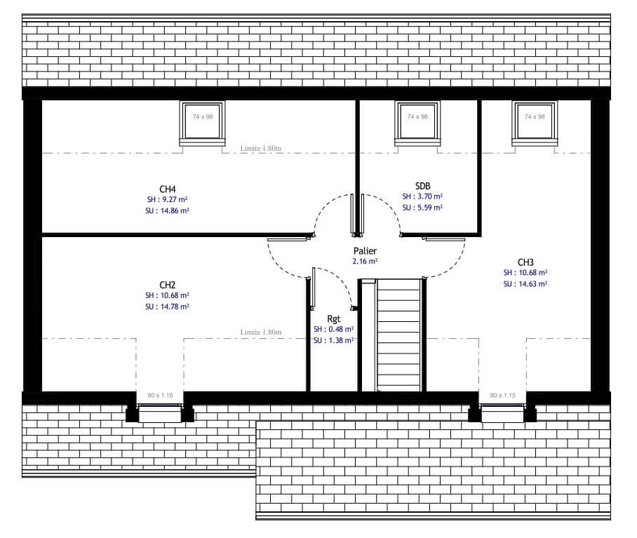 Plan 2de la maison individuelle Résidence Picarde 04