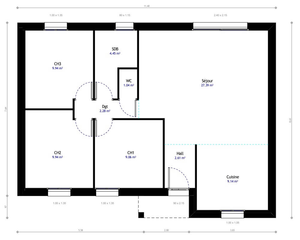 Good plan de la maison habitat concept with maison plain for Plan pavillon plain pied