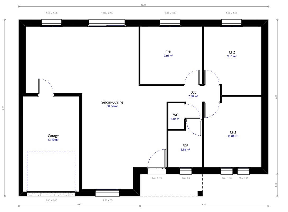 Maison individuelle 09 for Plan maison plain pied 85m2
