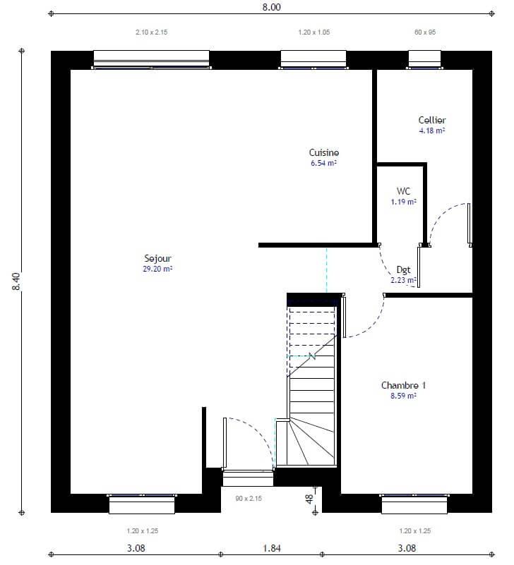 Plan 1de la maison individuelle Lesmaisons.com 100