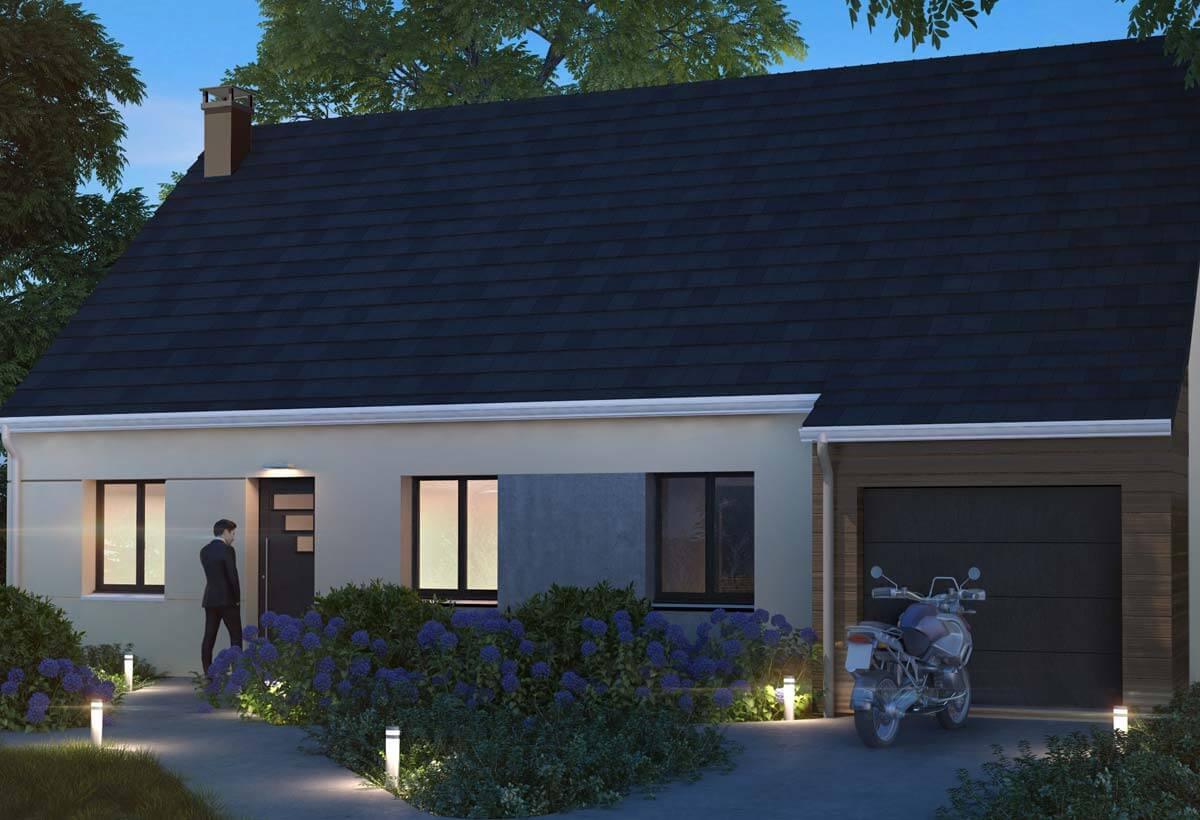 Plan maison individuelle 3 chambres 102 gi habitat concept - Modele maison plain pied 4 chambres ...