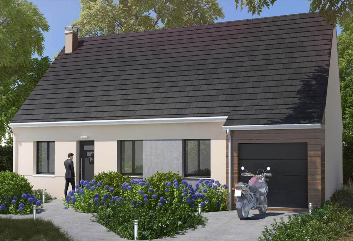 Simple maison rsidence picarde with modele de maison plain - Modele de maison plain pied avec garage ...