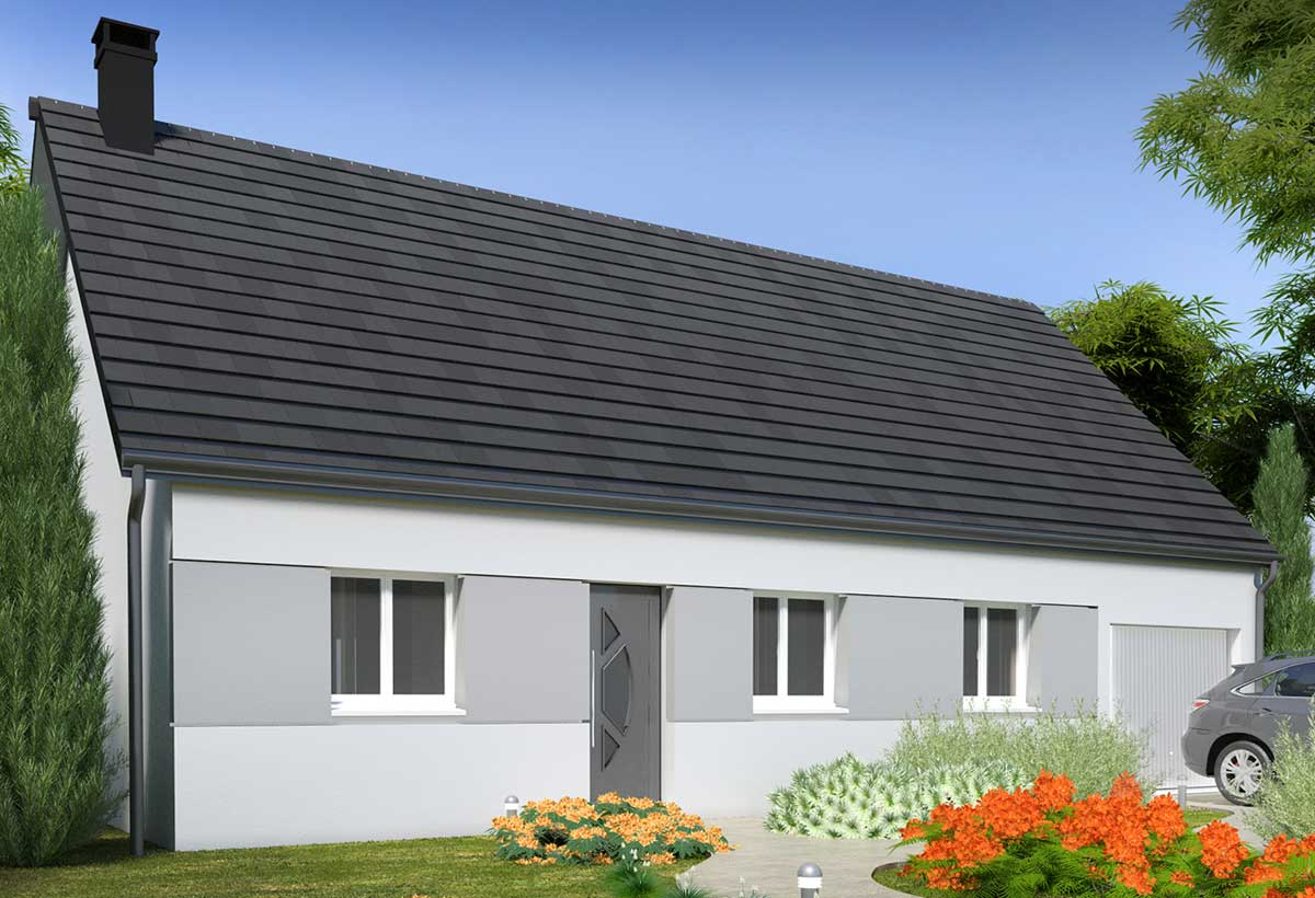plan maison individuelle 3 chambres 104 gi habitat concept. Black Bedroom Furniture Sets. Home Design Ideas