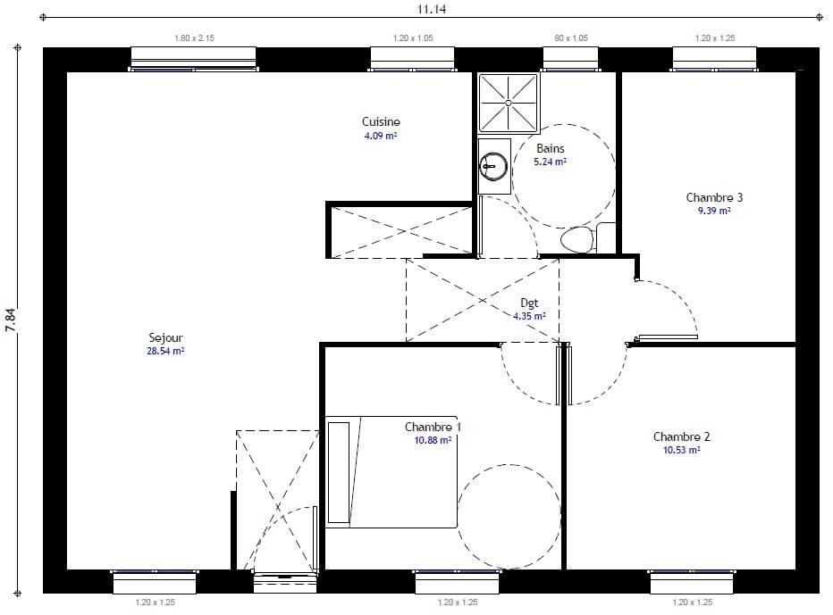Plan maison individuelle 3 chambres 104 h habitat concept for Modification de plan de maison