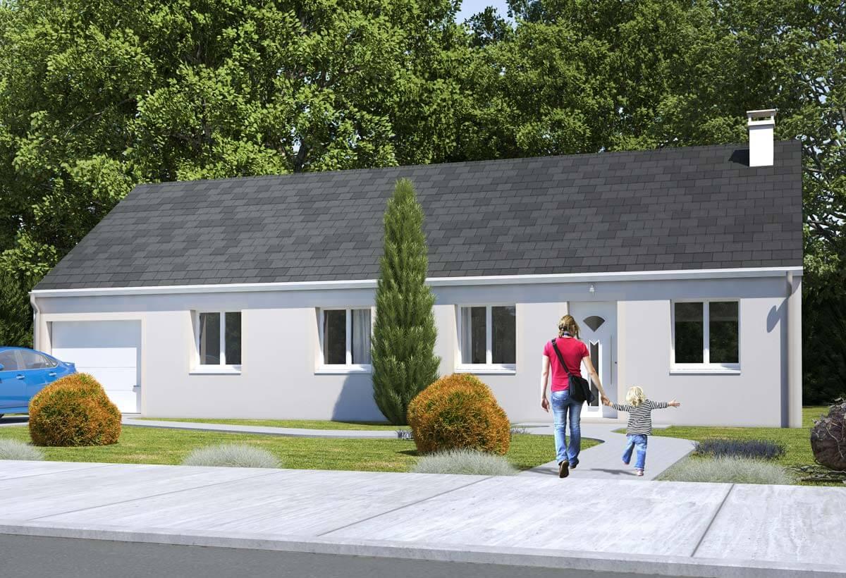 plan maison individuelle 4 chambres 105 habitat concept. Black Bedroom Furniture Sets. Home Design Ideas