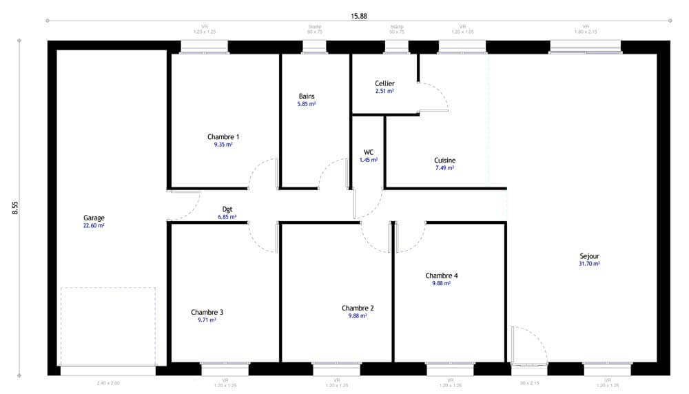 Plan maison individuelle 4 chambres 105 habitat concept for Modification de plan de maison