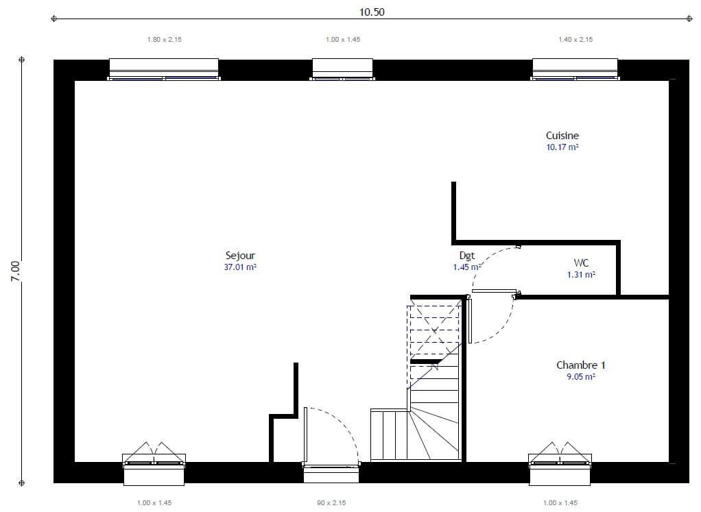 Plan 1de la maison individuelle Résidence Picarde 106