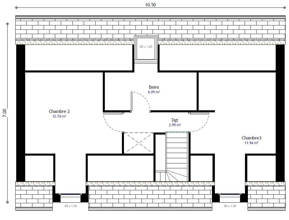 Plan 2de la maison individuelle Résidence Picarde 106