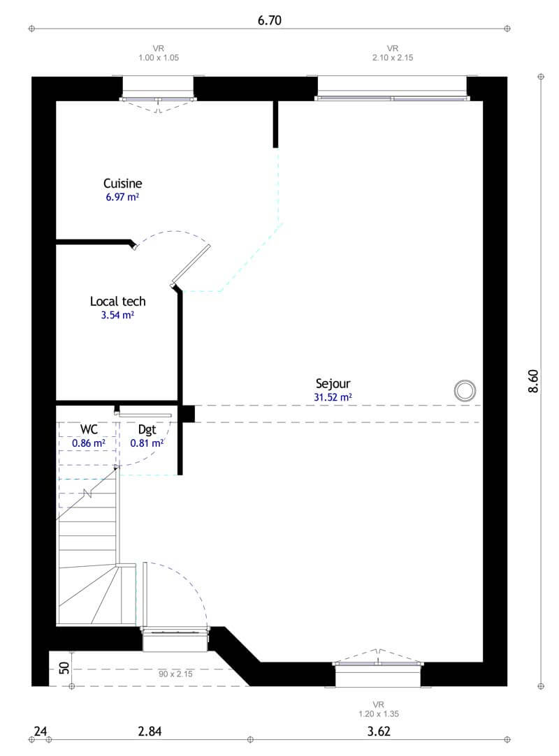 Plan maison 3 chambres HC 107