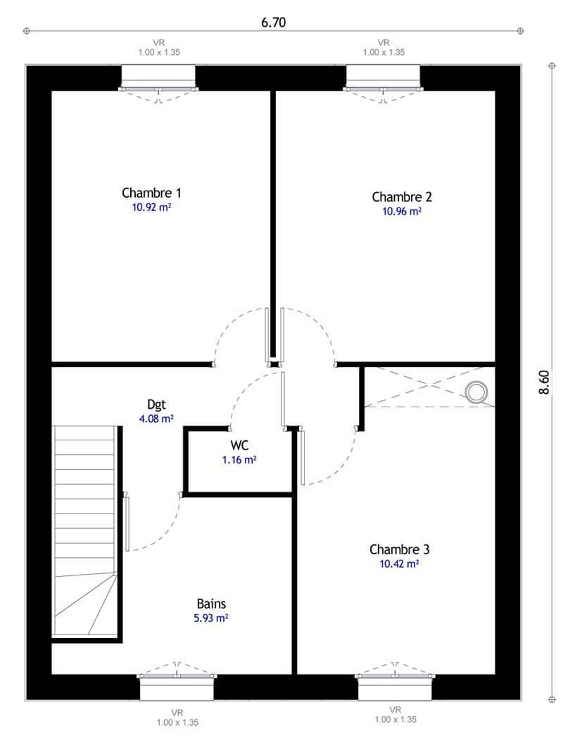 Plan 2de la maison individuelle Lesmaisons.com 107
