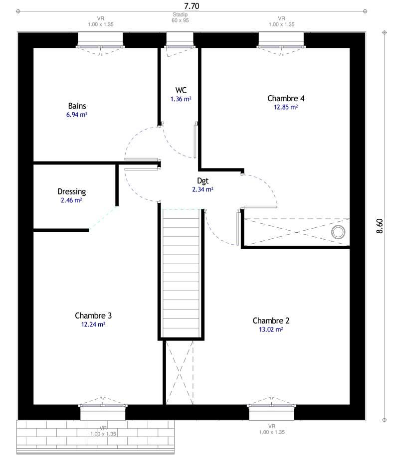 Plan 2de la maison individuelle Habitat Concept 108