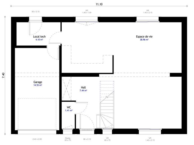 Plan maison individuelle 4 chambres 109 habitat concept - Faire un plan de chambre ...