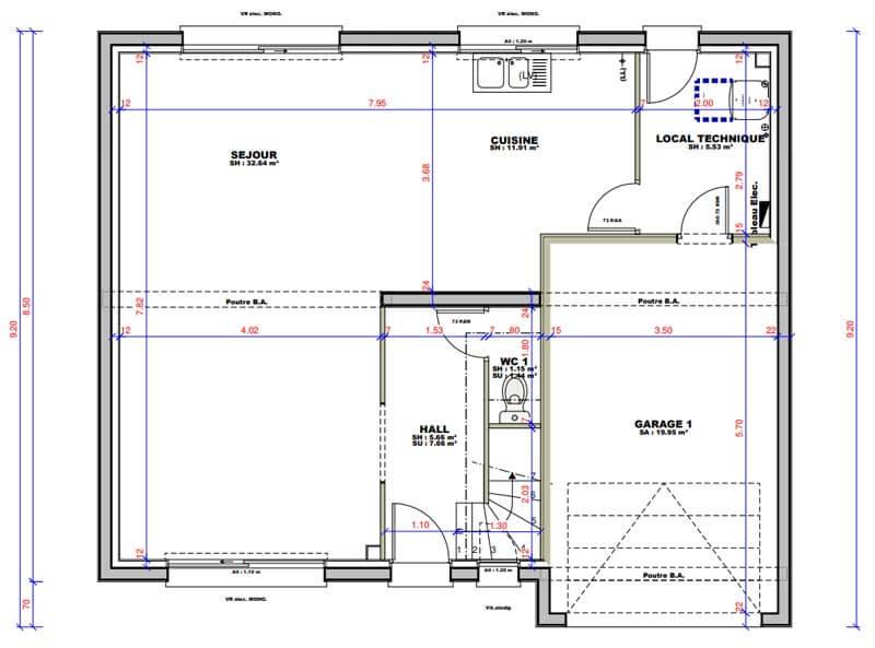 Plan maison 4 chambres Lesmaisons.com 111
