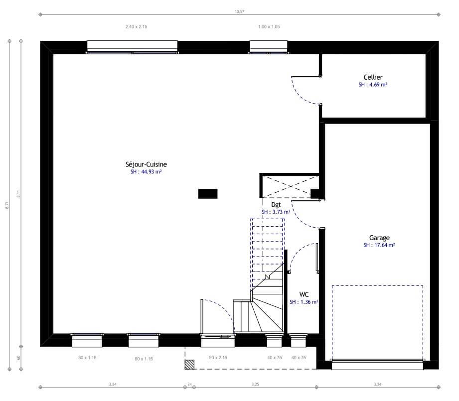 Plan 1de la maison individuelle Habitat Concept 12