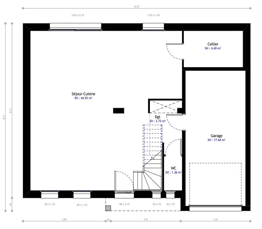 Plan maison individuelle 3 chambres 12 habitat concept Maison individuelle plan