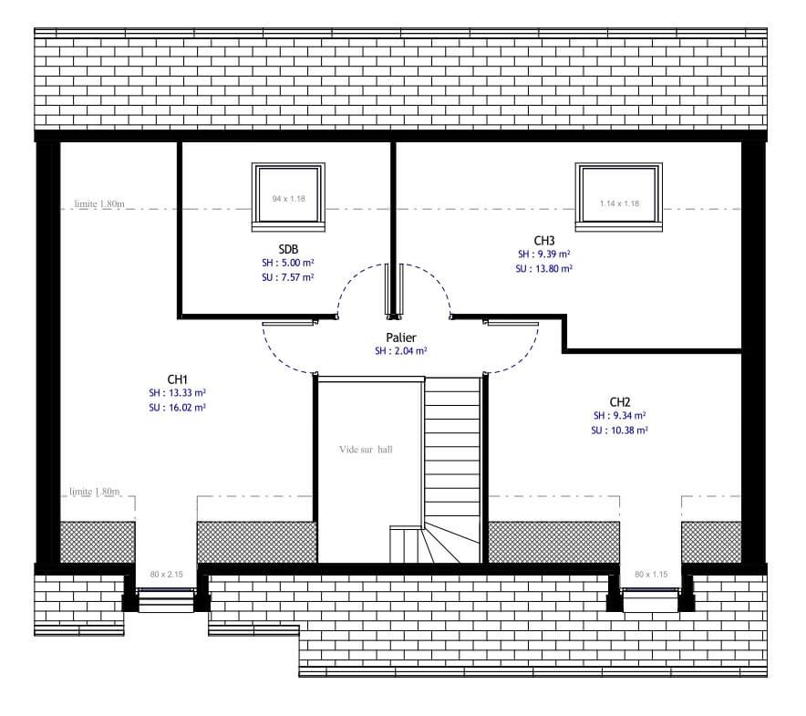 Plan 2de la maison individuelle Habitat Concept 12