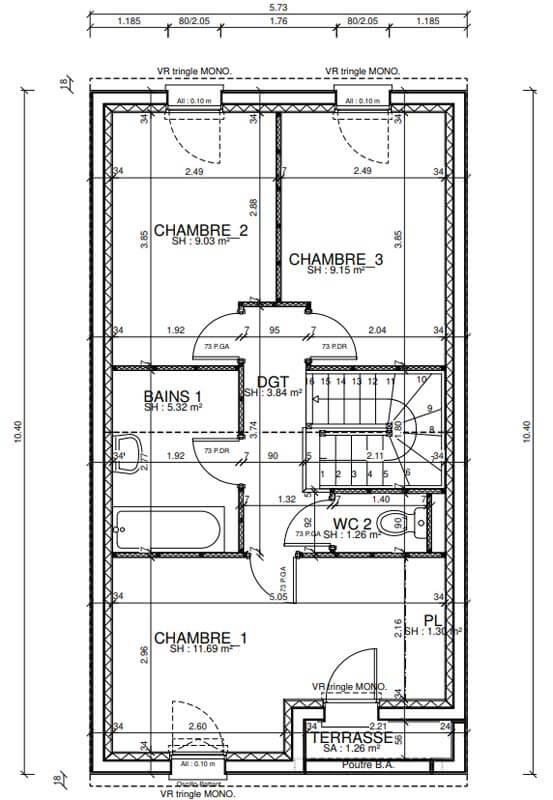 Plan maison 3 chambres Lesmaisons.com 120