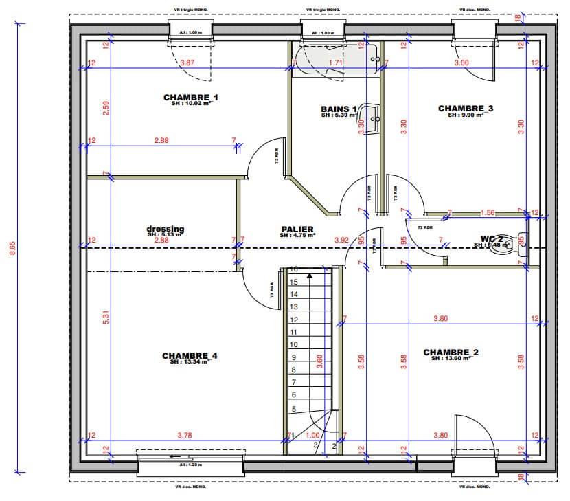 Plan maison 5 chambres Lesmaisons.com 122
