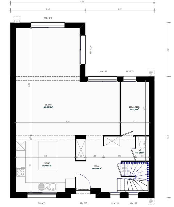 Plan De Maison 3 Chambres Modele Lesmaisons Com 123b Maisons Com