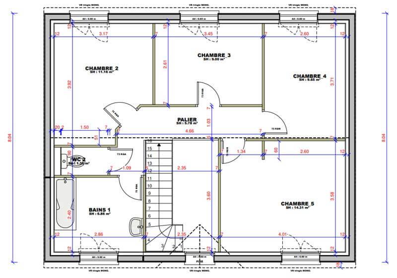 Plan maison 5 chambres Lesmaisons.com 124