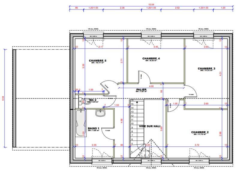 Plan de maison 10 chambres modèle Lesmaisons.com 1210 - Maisons.com