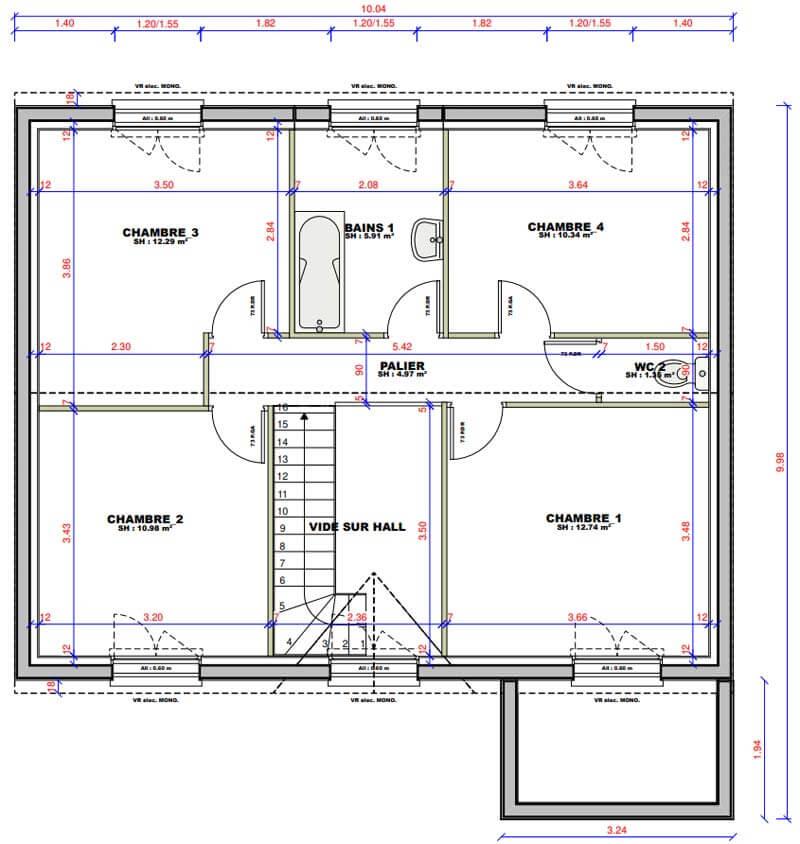Plan maison 4 chambres Lesmaisons.com 126