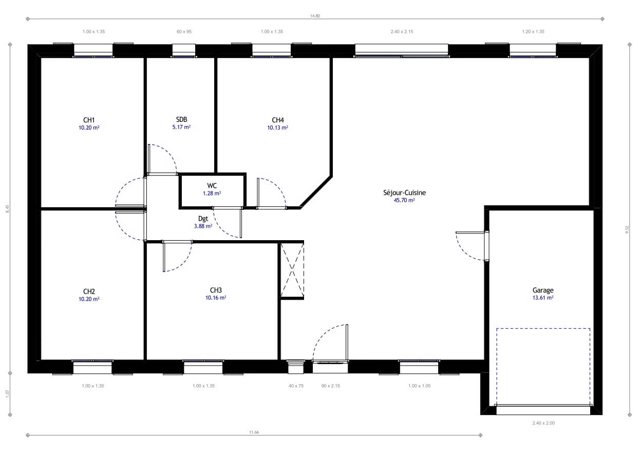 Plan de maison 4 chambres mod le r sidence picarde 14 for Modification de plan de maison
