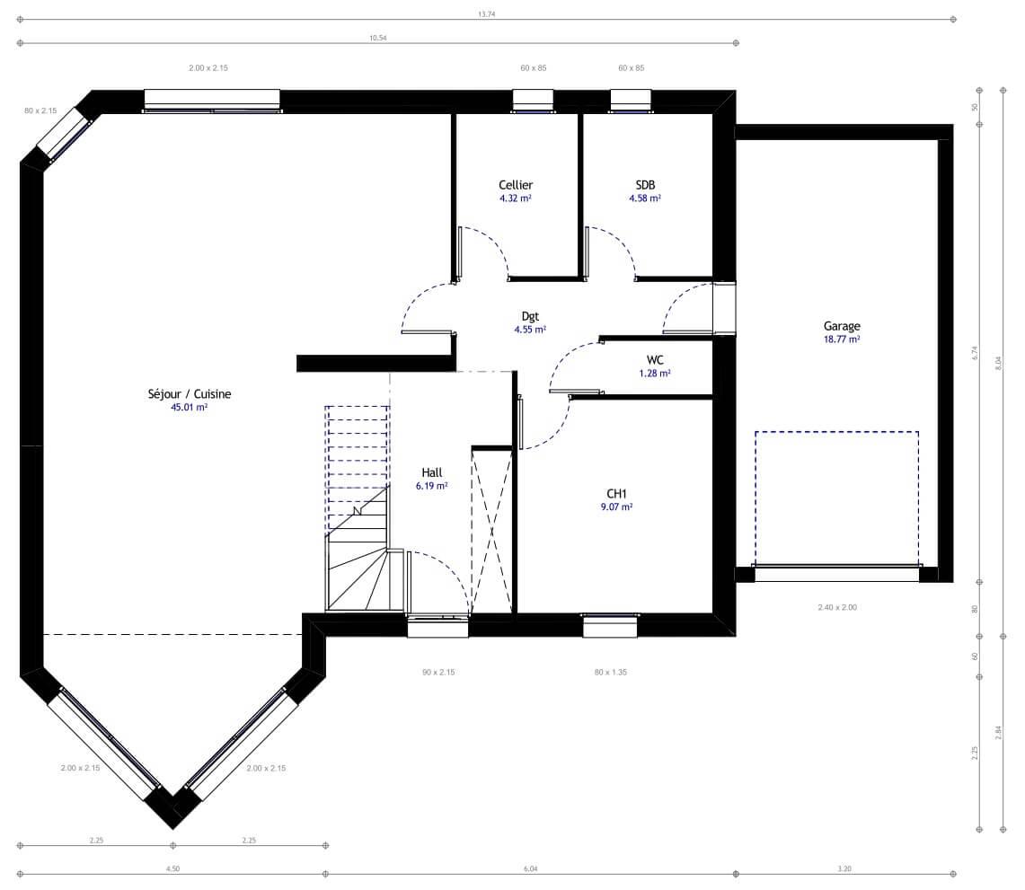 Construction maison tage avec habitat concept Maison individuelle plan
