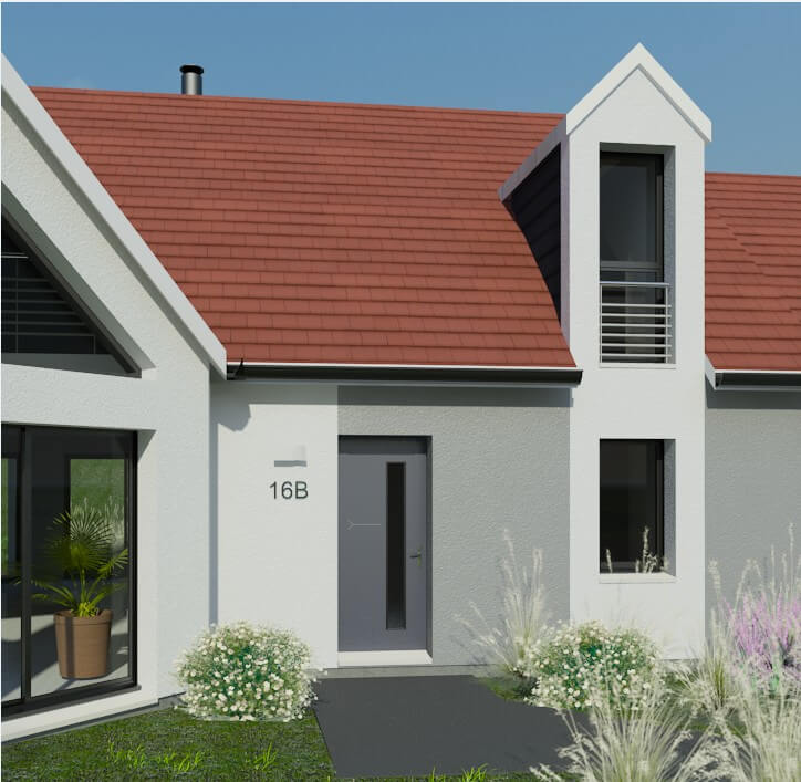 plan maison individuelle 3 chambres 16b habitat concept. Black Bedroom Furniture Sets. Home Design Ideas