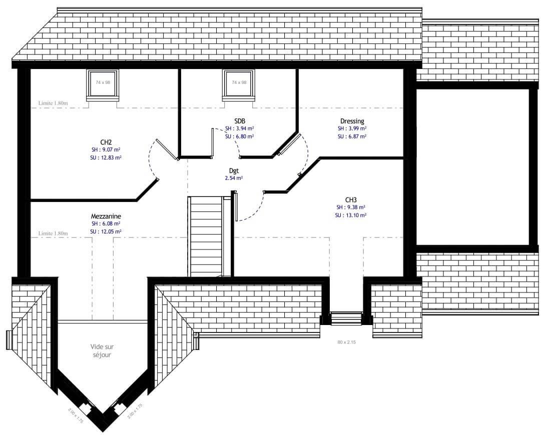 Plan 2de la maison individuelle Habitat Concept 16b