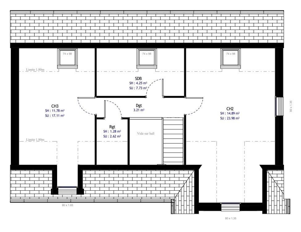 Plan 2de la maison individuelle Habitat Concept 18