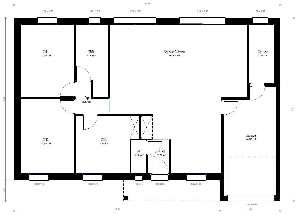 Plan maison individuelle 3 chambres 21 habitat concept for Modification de plan de maison