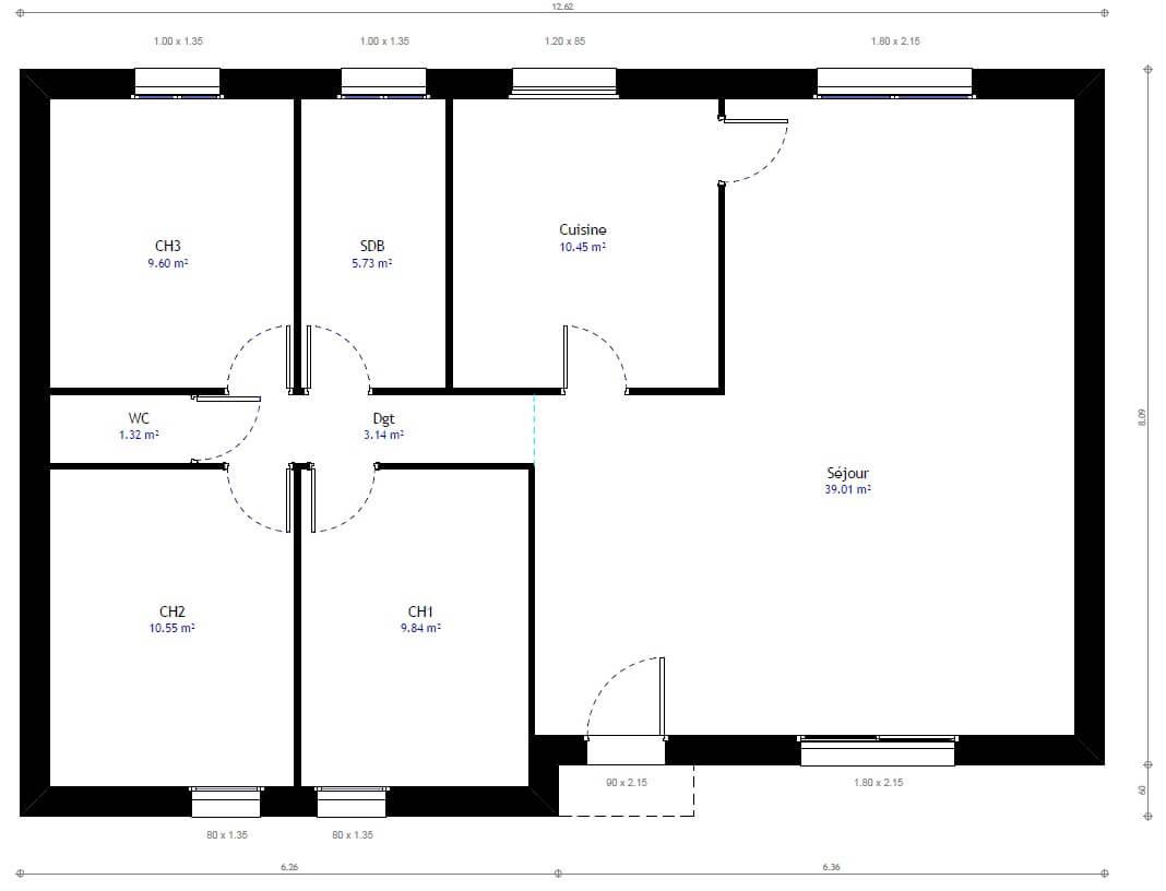 Plan maison 3 chambres Résidence Picarde 22