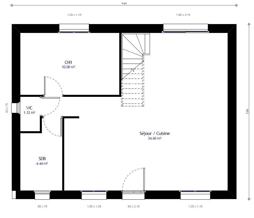 Plan 1de la maison individuelle Habitat Concept 25