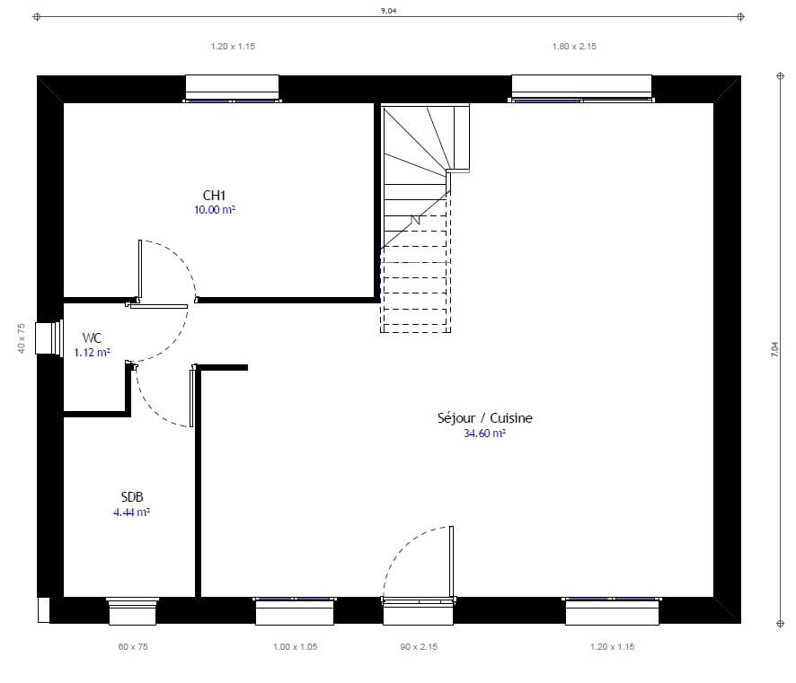 Plan maison 3 chambres Résidence Picarde 25