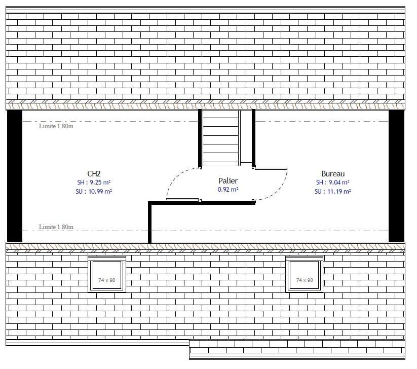 Plan 2de la maison individuelle Habitat Concept 25