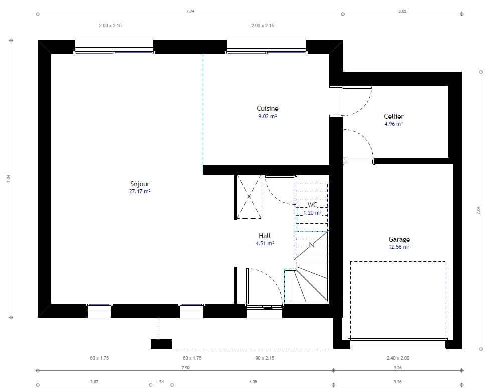 Plan 1de la maison individuelle Lesmaisons.com 27