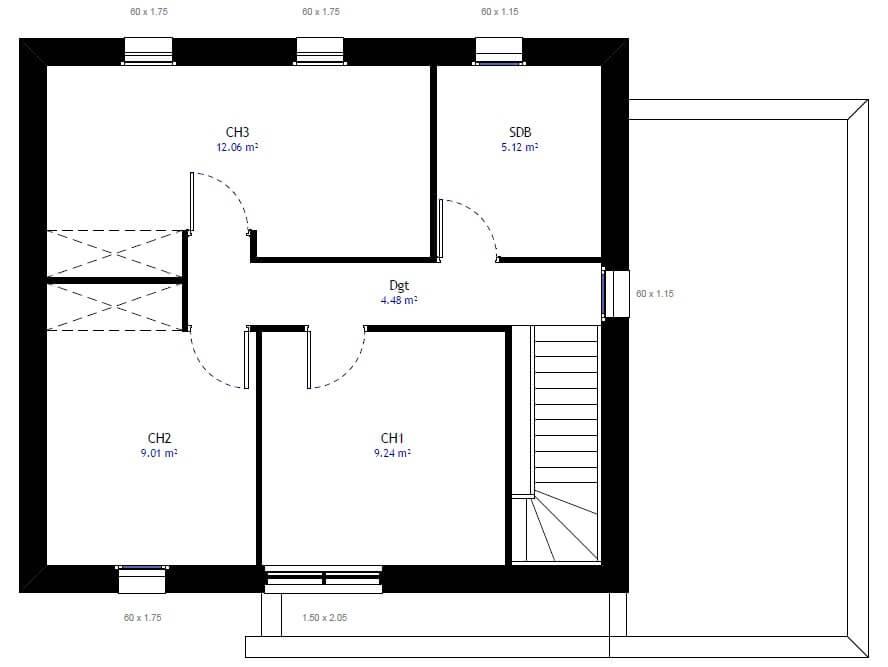 plan de maison à étage 3 chambres
