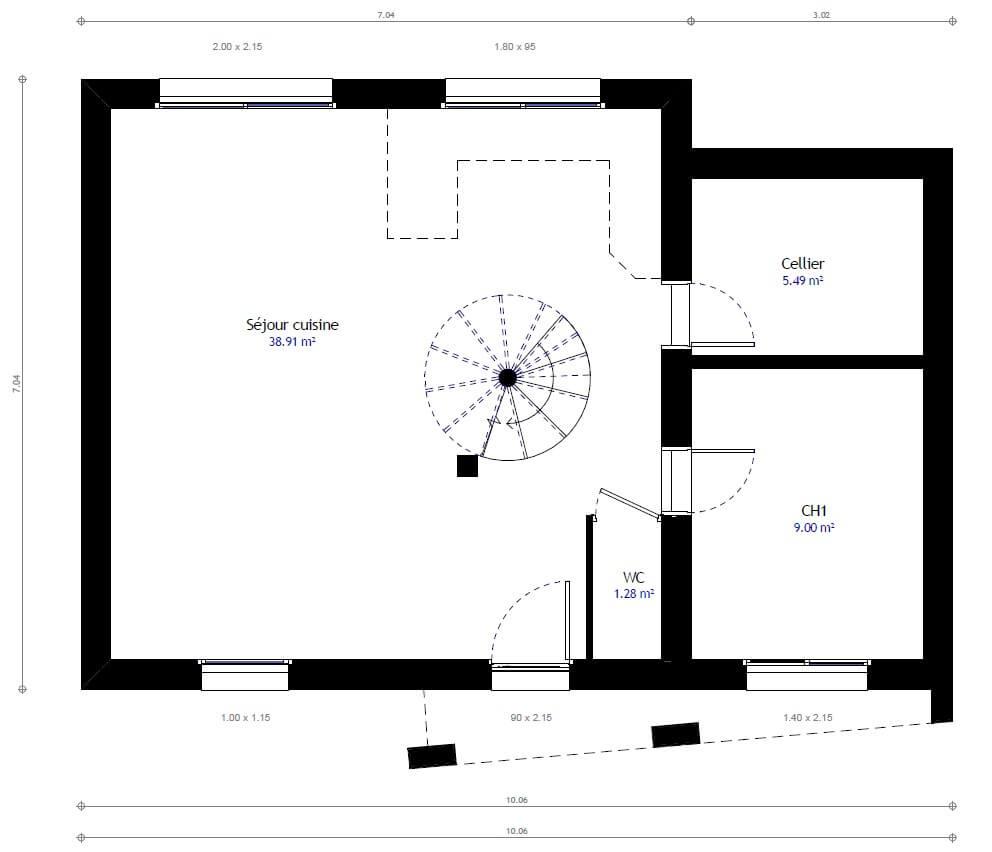 Plan 1de la maison individuelle Habitat Concept 27b