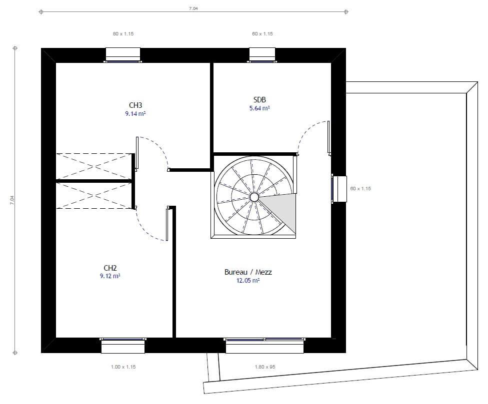 Plan maison 3 chambres Lesmaisons.com 27B