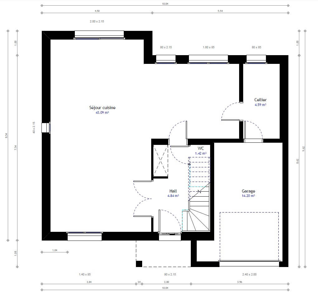 Maison individuelle 28 for Plan maison 100m2 2 etages