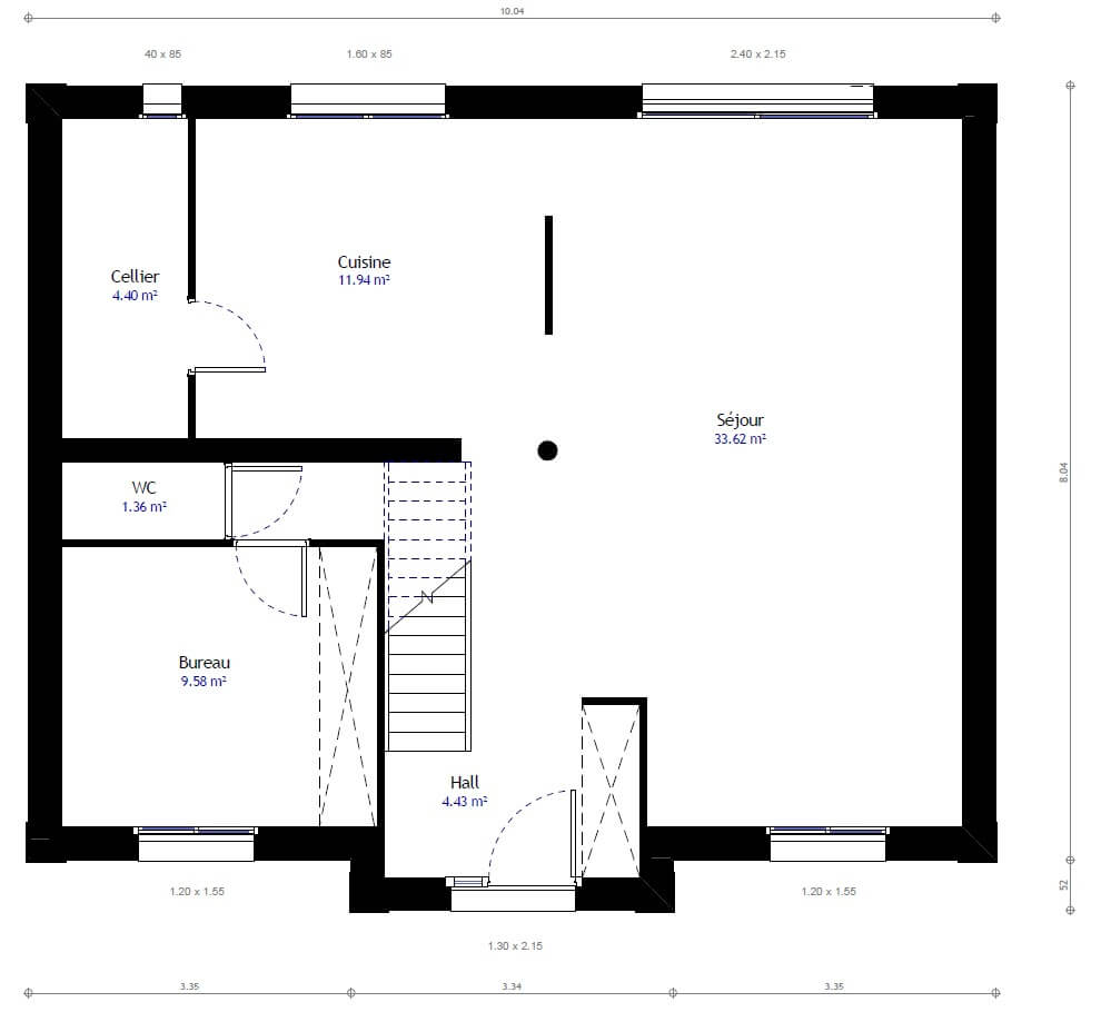 Plan maison 5 chambres Lesmaisons.com 29B