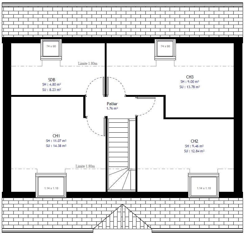 Plan 2de la maison individuelle Habitat Concept 32